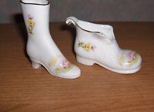 2 Vintage White Porcelain Boot & Shoe Figurine Ceramic Pink Water Lilies Trinket