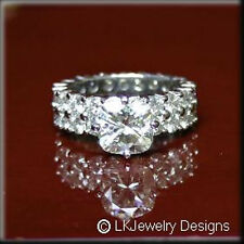 6.80 CT MOISSANITE CUSHION FOREVER ONE GHI DOUBLE ROW ENGAGEMENT ETERNITY RING