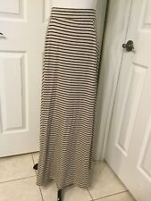 NWOT Maurices Pretty Natural & Black Striped Maxi Skirt Soft Stretchy Sz M CUTE!