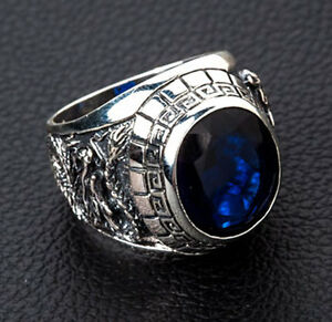 JAPANESE TIGER & DRAGON 925 STERLING SILVER MENS RING NEW SAPPHIRE BLUE ROCK