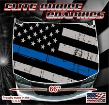 Police Thin Blue Line Vinyl Hood Wrap Bonnet Decal Sticker Graphic