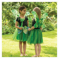GIRLS KIDS GREEN SPARKLE SPRING WOODLAND FOREST FAIRY DRESS TUTU COSTUME + WINGS