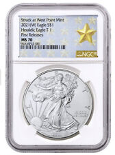 New listing 2021 Silver Eagle T1 Star Label Ngc Ms70 Fr