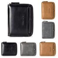 Men's Vintage PU Leather Bifold Wallet Zipper Coin Purse Credit ID Card Holder