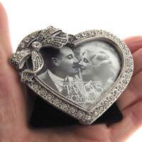 "Rhinestone Floating Crystal Heart Photo Frame 3"""