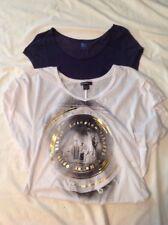 Girls Juniors Short Sleeve Shirts Blue / White bundle of 2 EUC
