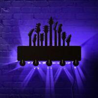 Guitar Necks And Heads Decorative Key Organizer Rack With 5 Hooks LED Lighting