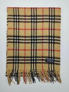 Burberry genuine Vintage 100% Lambswool Nova check Camel winter Scarves Scarf