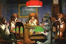 A Friend in Need - Dogs Playing Poker, Card Game, Chips etc. --- Animal Postcard