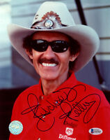 RICHARD PETTY SIGNED AUTOGRAPHED 8x10 PHOTO CELEBRATED NASCAR GOAT BECKETT BAS