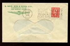 ADVERTISING ENVELOPE 1948 S.MAW SON + SONS NEW BARNET + PERFIN SMS