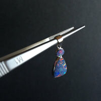 Doublet OPAL pendant W/amazing colors Sterling Sliver 925 coated Rhodium 1.19G