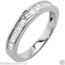 0.50ct Baguette Cut Diamonds Half Eternity Wedding Ring in White & Yellow Gold