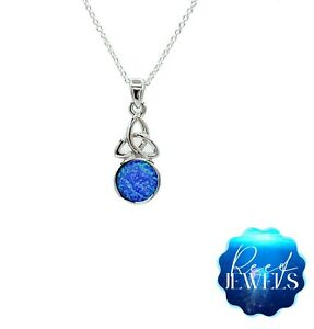 Opal Necklace Sterling Silver 925 Jewellery Blue Opal Triquetra Chain Pendant