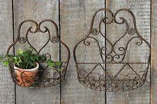 Wand Korb Set in Braun 39 + 31cm Eisen lackiert Wandkorb Wanddekoration Neu