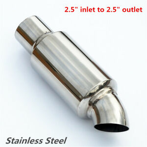 """Car Exhaust Pipe Tip Resonator Silencer 2.5"""" in to 2.5"""" out Exhaust Tip Muffler"""