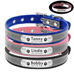 Reflective Personalised Leather Collar for Dogs Cats Pink Blue Black XS S M