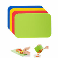 4 Flexible Chopping Mats Thin Non Slip Board Mat Set Kitchen Food Cutting Large