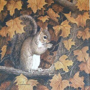 4 Paper Napkins Serviettes Decoupage Napkins Squirrel, Autumn Leaves, Tree...