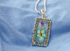 HAND MADE JEWELLERY, REAL FLOWERS  PENDANT (RECTANGLE)