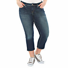 Silver Aiko Capri Jeans Plus Size 14 Mid Rise Flap Pocket New