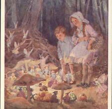 """Fairy Market"" Children Watch Pixies,Fairies,Elves,Mush rooms,Tarrant Postcard"