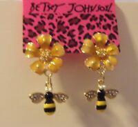 NWT Betsey Johnson Crystal & Enamel FLOWER BUMBLE BEE EARRINGS
