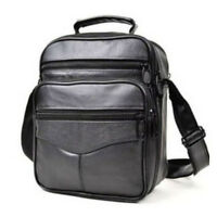 Men's Leather Crossbody Messenger Shoulder Bags Satchel Small Handbag Tablet Bag