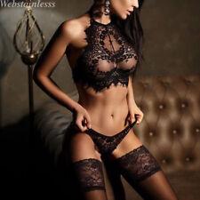 Damen Sexy Unterwäsche Spitze Babydoll Nachtwäsche Anzug Schwarz Weiß S M L XL