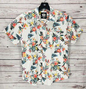 Mens Vintage Batman Button Up Shirt  White with Classic Black Logo Polka Dot Style Print   Size XXL  2X  Short Sleeve  Chest Pocket