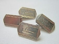 Vintage Art Deco men's jewellery silver cuff links 1953 Henry Griffiths engraved