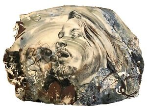 """Buddy Jacobs """"Bacchus"""" Painted Textured Stoneware Wall Hanging Original Signed"""