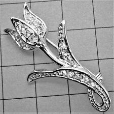 diamante rhinestone tulip flower brooch D856*) A lovely silver tone