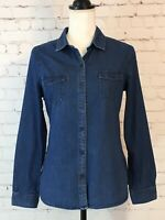 Old Navy Womens Denim Shirt Size Small Long Sleeve Button Up Lightweight Pockets