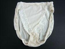 "Vtg Wacoal High Cut Panty Cream Silky Nylon ""V"" Lace Front Panel Women's 7/L"