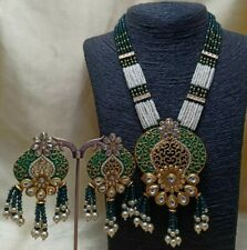 Bollywood Long Pearl AD CZ Kundan Necklace Gold Plated Indian Bridal Jewelry Set