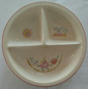 vintage Bartsch Mary Had A Little Lamb childs warming divided dish ceramic 1950s