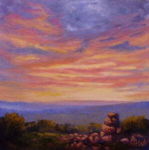 Original oil landscape painting of sunset sky 1