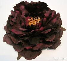 "Large 6"" Plum Purple Peony Silk Flower Bar Brooch Pin,Wedding,Prom,Dance"