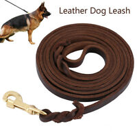9.8 Foot- Braided Leather Dog Leash Heavy Duty Leads for Medium Large Dogs USA