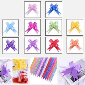 1/50/100pcs Ribbon Pull Bows Flower Wedding Car Gift Wrap Party Xmas Decoration