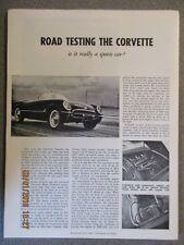 Road & Track Corvette Road Tests Portfolio from 1954 Thru 1970 STAPLED REPRINTS