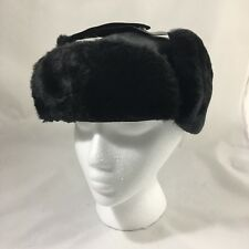 Vintage Trapper Hat Winter Cap Insulated Dacron Quilted Lining Black Size Large