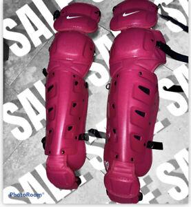Nike Vapor Baseball Catchers Leg Guards Men's Sz 17 MLB Team Cancer Awareness