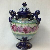 HAND PAINTED COBALT BLUE PORCELAIN URN ~ UNMARKED NIPPON ~ CHRYSANTHEMUMS & GOLD