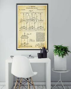 """1873 Louis Pasteur BREWING BEER & Ale Patent POSTER! (up to full-size 24"""" x 36"""")"""