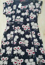 LADIES BODEN SILK DRESS DARK GREY/FLORAL BNWT SIZE UK 12 (RUNS SMALL 12)