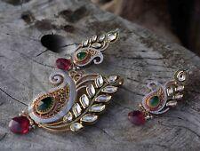 Exclusive Indian Emerald Peacock Keri Kundan Costume Jewellery Set Handmade