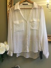 ZARA Off White Plumetis Shirt Blouse Size XXL UK 14/16 BNWT Plunge Neck