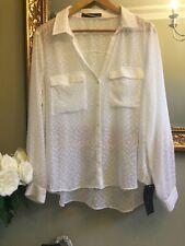 ZARA Off White Plumetis Shirt Blouse Size XXL UK 14/16 BNWT Plunge Neck